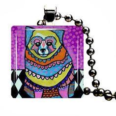 Pomeranian Charm Necklace Dog Tag Jewelry Silver Glass Christmas Gift Folk Art