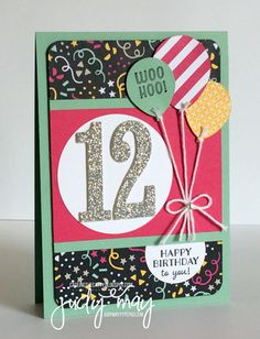 the Catty - More Saleabration! Stampin' Up! 2016 Saleabration Party Pants, Large Numbers & It's My Party DSP - Judy May, Just Judy DesignsStampin' Up! 2016 Saleabration Party Pants, Large Numbers & It's My Party DSP - Judy May, Just Judy Designs Kids Birthday Cards, Birthday Numbers, Handmade Birthday Cards, 70th Birthday Card, Ballon Party, Birthday Balloons, Kids Cards, Creative Cards, Scrapbook Cards