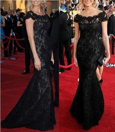 2013 Black Lace Cap Sleeve Off-Shoulder Mermaid Formal Evening Prom Gown Wedding Party Celebrity Dress