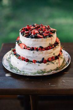 Wedding cake with raspberry, honeysuckle and sea buckthorn #wedding #cake