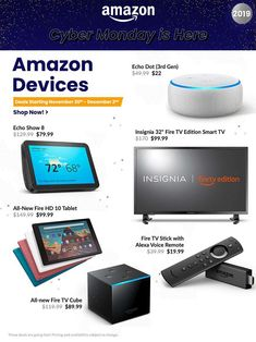 Amazon Cyber Monday Ad Scan, Deals and Sales 2019 The Amazon 2019 Cyber Monday ad is here! Be sure to subscribe to our newsletter to receive emails about all the latest Cyber Monday news and ad leaks ... #cybermonday #amazon Cyber Monday Ads, Monday News, Amazon Black Friday, Online Shopping Deals, Amazon Deals, Amazon Echo, Smart Tv, Frugal, Fit