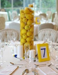 lemon centerpiece. blue + yellow wedding decor.--funny, I thought this was MY brilliant idea until I found it here!!! CB