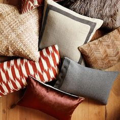 Color concept option: Reds, greys, beiges  Velvet Pillow Cover #williamssonoma