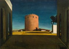 Giorgio de Chirico's enigmatic works of 1911 to 1917 provided a crucial inspiration for the Surrealist painters. The dreamlike atmosphere of his compositions results from irrational perspective, the lack of a unified light source, the elongation of shadows, and a hallucinatory focus on objects.