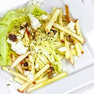 Iceberg Salad with Fennel, Feta and Black Walnuts: Iceberg lettuce is satisfying - mild in flavor, crisp & cool. It's a great supporting player for other more assertive, distinctive flavors, like salty feta cheese, thinly-sliced fennel and robust black walnut oil.