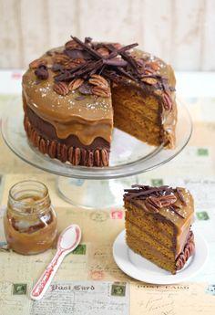 Chocolate Turtle Pumpkin Torte.