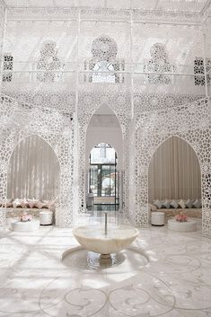 The spa in Royal Mansour Hotel in Marrakech takes a graphic approach to traditional Moroccan design. Marrakesh, Riad Marrakech, Moroccan Design, Moroccan Decor, Moroccan Style, Islamic Architecture, Interior Architecture, Interior And Exterior, Interior Design