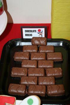 Chocolate bricks for a Mario party... cute idea.