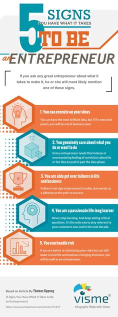 5 signs you have what it takes to be an entrepreneur infographic
