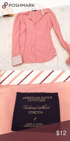 Pink Button Down Blouse Pale pink Button Down Blouse from American Eagle. Never worn. Like new condition.  Inspected for any rips, stains, and odors. Any questions please ask! :) American Eagle Outfitters Tops Blouses
