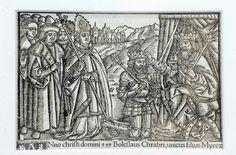 """Koronacja Bolesława Chrobrego - drzeworyt z książki Macieja z Miechowa, """"Chronica Polonorum"""" (Kronika Polska), 1521 r."""