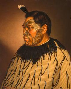 Tamati Waka Te Puhi oil on canvas painting by G. At Auckland Art Gallery. Maori Face Tattoo, Ta Moko Tattoo, Face Tattoos, Polynesian People, Polynesian Tattoos, Auckland Art Gallery, Maori People, Tribal Warrior, New Zealand Art