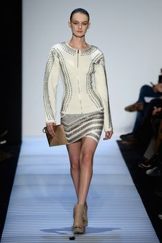 A model walks the runway at the Herve Leger By Max Azria fashion show during Mercedes-Benz Fashion Week Fall 2014 at The Theatre at Lincoln ...