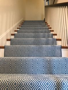 Stair runner idea with indoor/outdoor carpeting pattern. Will hide everything and us washable!Stair runner idea with indoor/outdoor carpeting pattern. Will hide everything an.Stair runner idea with indoor/outdoor carpeting pattern. Will hide everyt Stairs Landing Carpet, Hallway Carpet, Stair Landing, Carpet Stairs, Basement Carpet, Pattern Carpet On Stairs, Carpet Runners For Stairs, Bedroom Carpet, Navy Stair Runner