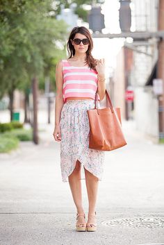 Crop top and floral skirt!