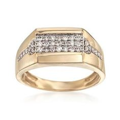 Ross-Simons - Men's .50 ct. t.w. Diamond Signet-Style Ring in 14kt Yellow Gold - #831230