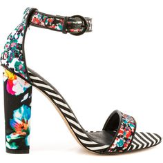 Aldo Women's Cadaudda - Black Print ($76) ❤ liked on Polyvore featuring shoes, sandals, heels, sapatos, zapatos, ankle strap high heel sandals, aldo shoes, ankle wrap sandals, black shoes and summer sandals