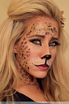 Leopard Makeup Tutorial- idea for halloween Costume Halloween, Cute Costumes, Halloween Make Up, Halloween Face Makeup, Costume Ideas, Eye Makeup, Makeup Tips, Hair Makeup, Makeup Ideas