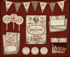 Vintage style Steampunk themed printable party pack by FaffyTea, £10.00