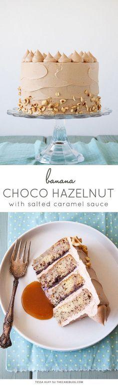 Banana Chocolate Hazelnut Cake with Salted Caramel Sauce.