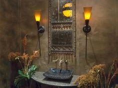 Gray Eclectic Living Room With Ornate Screen Divider Versace Furniture, Powder Room Decor, Powder Rooms, Interior And Exterior, Interior Design, Bohemian House, Bohemian Bedrooms, Boho Bathroom, Bathroom Stuff