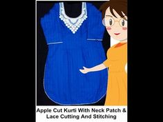 Apple Cut Kurti With Neck Patch & Lace Cutting And Stitching - Tailoring With Usha - YouTube