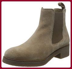 Pieces Psuzza Leather Boot Chelsea Castlerock, Bottes Non-à Enfiler, Tige mi-Haute FemmesGrisGrau (Castlerock), Taille 40 EU