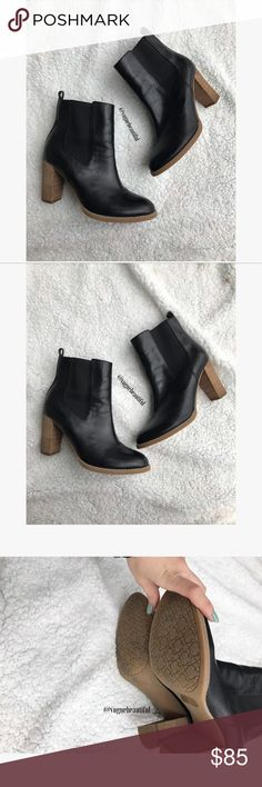 C Wonder Leather Stacked Heel Boots Black Absolutely stunning leather stacked heel booties by C Wonder - excellent preloved condition with minimal wear - Size 9 M - box not included - !!NO TRADES!! C Wonder Shoes Heeled Boots