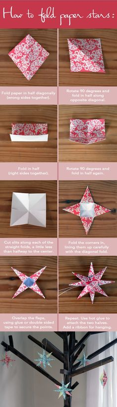How To Fold Paper Star Ornaments--includes the picture tutorial and supplies list.