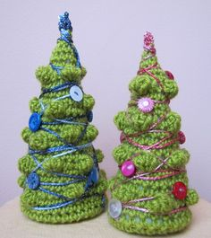 Crochet Christmas Tree decorated with vintage by elfinhouse, $16.00
