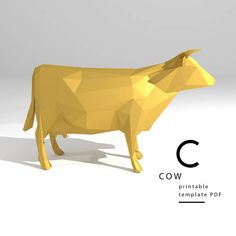 Printable DIY template PDF. Cow low poly paper model. 3D