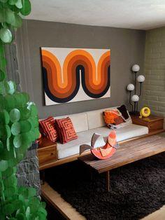 Authentic Verner Panton Denmark Danish Fabric Framed Vintage 1960s 1970s 60s 70s Swedish Finnish Marimekko Style Home Decor