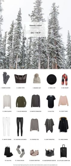 What to pack for a Ski Trip. 20 items, 10+ days/outfits, 1 carry on suitcase. #travellight #packingtips #traveltips