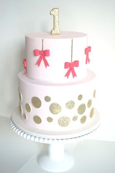 love these sweet little ribbons around this cake!
