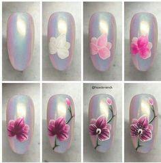 Pin van renailed op nails in 2019 - paznokcie, ładne paznokcie en malowanie Orchid Nails, Rose Nails, Nail Swag, Spring Nails, Autumn Nails, Nail Art Fleur, Gel Nagel Design, Nail Drawing, Nail Art Designs Videos