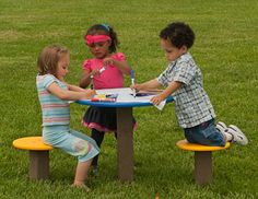 The Pedestal Table with Seats. This table can be used for writing activities, manipulatives, snack time, lunch, art projects, or just a place to sit and observe or socialize with friends on the preschool playground