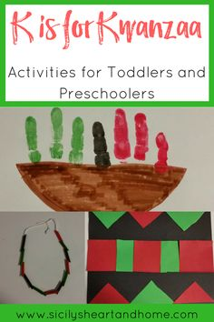 K is for Kwanzaa: Activities for Toddlers and Preschoolers - Kwanzaa crafts - kids holiday - Kwanzaa for kids toddlerpreschool Toddler Preschool, Toddler Crafts, Toddler Activities, Preschool Activities, Crafts For Kids, Abc Crafts, Preschool Art, Toddler Classroom, Preschool Projects