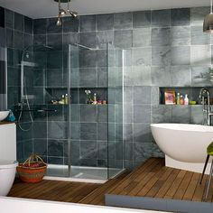 Modern bathroom pictures and photos for your next decorating project. Find inspiration from of beautiful living room images Grey Slate Bathroom, Oak Bathroom, Modern Bathroom Tile, Grey Bathrooms, Small Bathroom, Bathroom Ideas, Bathroom Designs, Bathroom Faucets, Master Bathroom