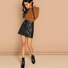 5556dce40d Cheryl O-Ring Zipper Detail Faux Leather Mini Skirt