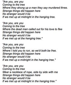Katniss' song, The Hunger Games :sobs: I can't read this without tearing up.