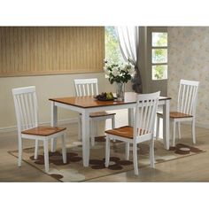 Boraam 22033 5-Piece Bloomington Dining Room Set, White/Honey Oak by Boraam. $439.99. Table legs and apron are constructed with solid hardwood. Flared back legs on the chairs provide durability and additional support. Shaker shape legs provide stability and unique style. Table top & chair seats are constructed with a wood veneer, and medium density fiber board (MDF). Shaker shape legs provide stability & unique style. Table top and chair seats are constructed with a wood v...