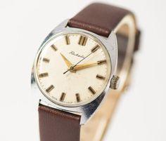 Soviet wrist watch for men Raketa beige face watch by SovietEra, $66.00
