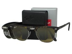 """Ray Ban RB2176 Folding Clubmaster 1151/M7 Matte Havana Polarized Sunglasses 51mm. Includes original case, cleaning cloth and authenticity paper. RX-able for prescription sunglasses. Free shipping in USA from """"Los angeles"""". Check frame size detail for """"Product Description""""."""