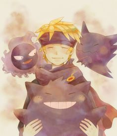 Morty with Gastly, Haunter, and Gengar