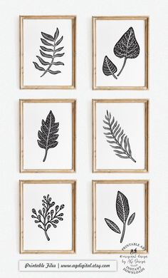 Abstract Leaf Prints - Set of 6, Black and White Art, Nature Poster, Nordic Modern Decor, Living Room Gallery wall art, Scandinavian Art White Art, Black And White, White Decor, Black Art, Scandinavian Wall Decor, Swatch, Make Up Organizer, Custom Baby Gifts, Nature Posters