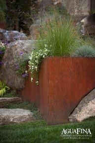 Stone and steel planters. [gorgeous integration of corten steel with stone in an AguaFina Gardens International landscape design] Modern Landscape Design, Modern Landscaping, Landscape Architecture, Garden Landscaping, Modern Design, Steel Retaining Wall, Retaining Walls, Boulder Retaining Wall, Casa Patio