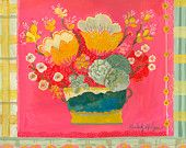 """Original painting on wood by Kimberly Hodges, New Pink Gingham 16"""" x 24"""", acrylic painting, tulips"""