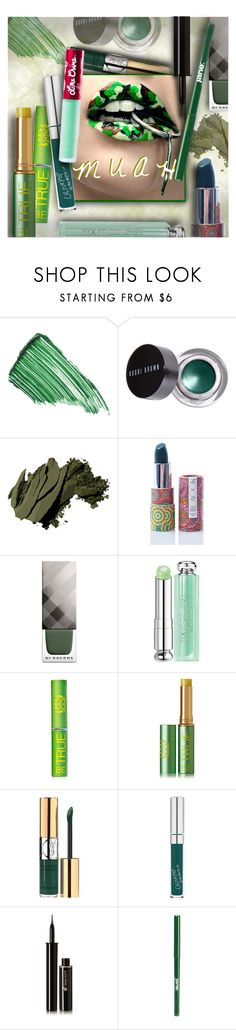 """MUAH! in green"" by stacey-lynne ❤ liked on Polyvore featuring beauty, By Terry, Bobbi Brown Cosmetics, Moonchild, Burberry, Christian Dior, Tata Harper, Yves Saint Laurent, Lancôme and jane"