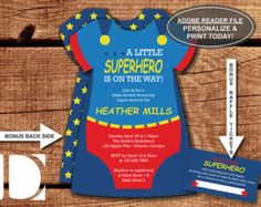 Superhero Baby Shower Invitation in Blue, Red, and Yellow with FREE diaper raffle ticket file