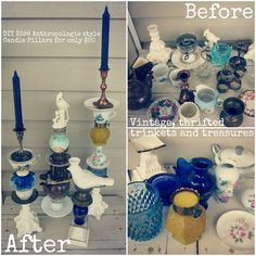 DIY Anthropologie style trinket candle pillars (DIY eclectic candle holders) - My Note Book Diy Candle Holders, Diy Candles, Pillar Candles, Teacup Candles, Eclectic Candles, Craft Projects, Projects To Try, Weekend Projects, Decoration